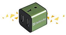 Defender 83506 Quadro Iron Универсальный USB разветвитель USB2.0, 4 порта, корпус—алюминий