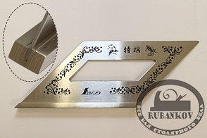 Угольник 3-х мерн, Shinwa, 172*62мм, нерж.сталь, с узорами