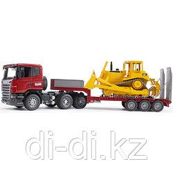 """Тягач с прицепом–платформой Scania с гусеничным бульдозером CAT (подходит модуль со звуком и светом """"H"""")"""