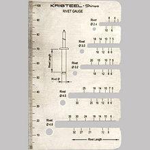 Линейка Kristeel Rivet Gauge, для определения размеров тяговых заклёпок