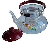 Заварочный стеклянный чайник для чая и кофе 1200 ml (Cofee and tea), заварной чайник, чайник для плиты