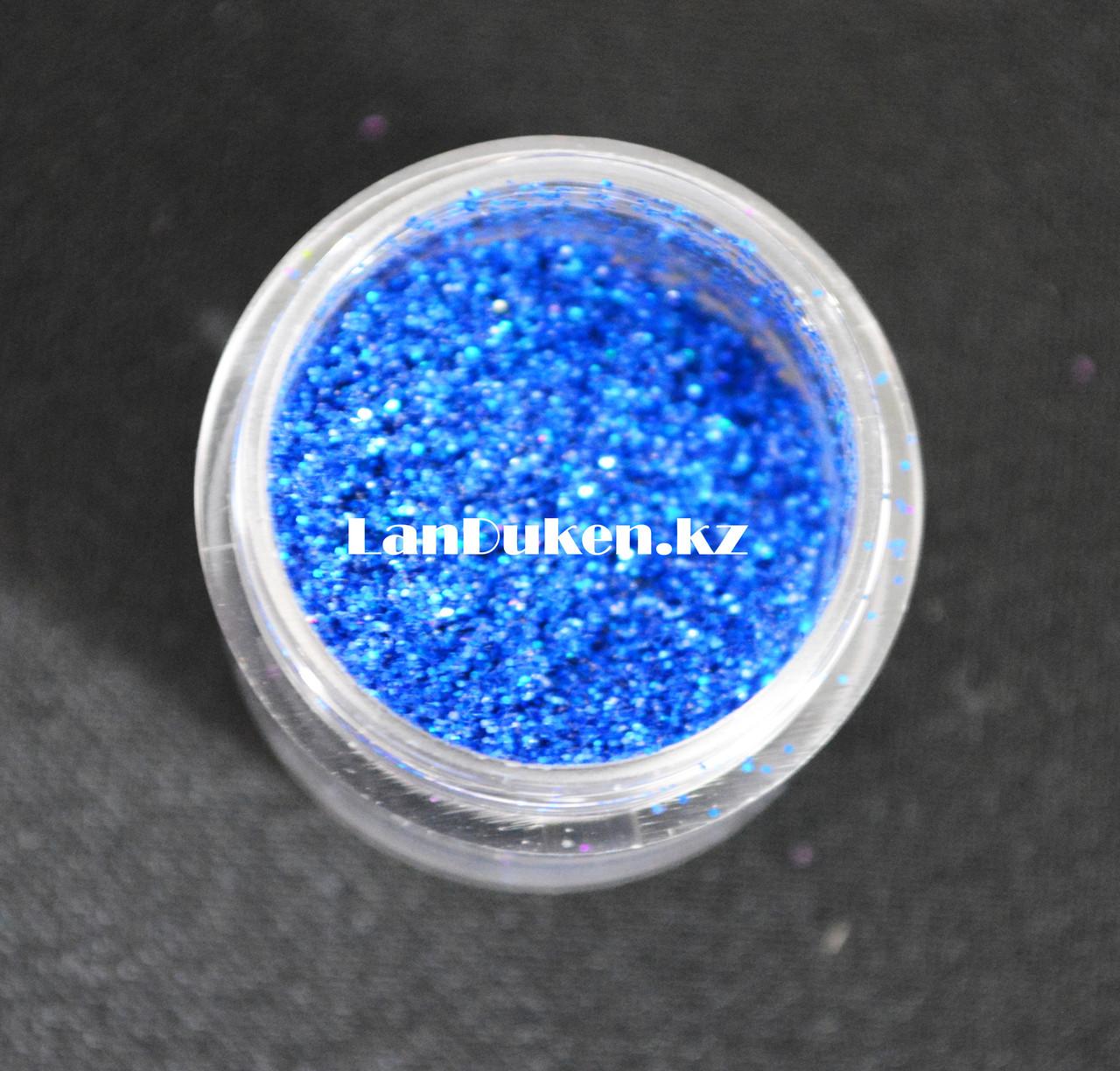 Блестки Color nail, блестки для ногтей, глаз, волос, тела, блестки для макияжа, глиттер, синие блестки - фото 2