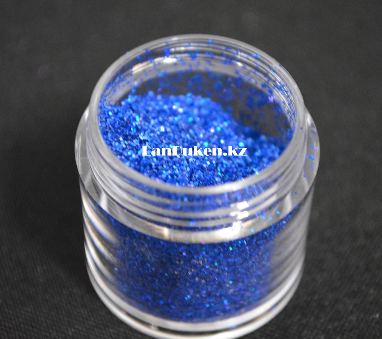Блестки Color nail, блестки для ногтей, глаз, волос, тела, блестки для макияжа, глиттер, синие блестки - фото 3