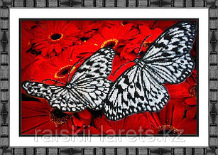 """Набор для вышивки бисером """"Бабочки на красном"""" Б-1413"""