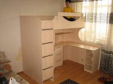 Кровать 2ярусная со столом и шкафом внизу