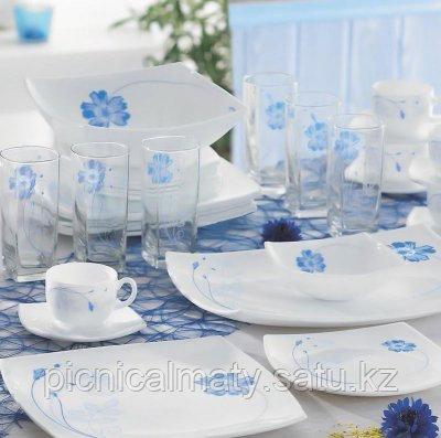 Столовый сервиз Luminarc INDIGO FLOWERS white на 6 персон 44 пр