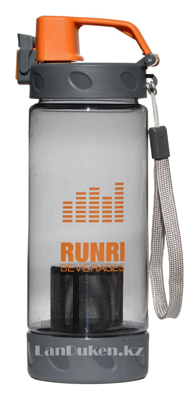 Бутылочка для воды RUNRI Beverages 550 мл, емкость для воды (с заварником) оранжевая - фото 1