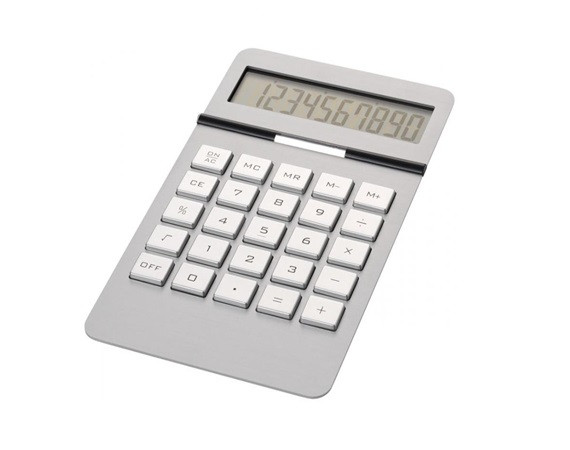 Стильный настольный калькулятор, 10-ти разрядный, два источника питания, алюминий