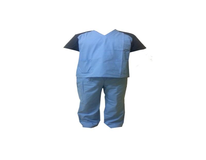 Хирургический костюм, голубого цвета с синими рукавами, размер S