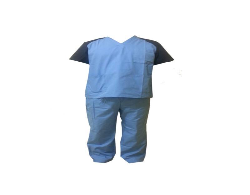 Хирургический костюм, голубого цвета с синими рукавами, размер L