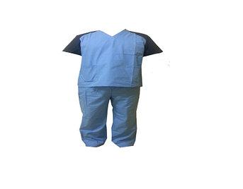Хирургический костюм, голубого цвета с синими рукавами, размер M