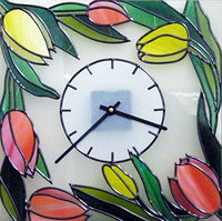 "Витражные часы ""Тюльпаны"", фото 1"