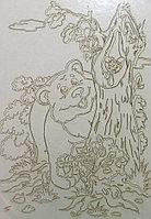 Трафарет для рисования цветным песком, Мишка и пчелы, формат А4