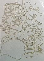 Трафарет для рисования цветным песком, Мышка и сыр, формат А4
