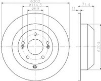 Тормозные диски Kia Sorento (09-..., задние, D302, Nakayma)