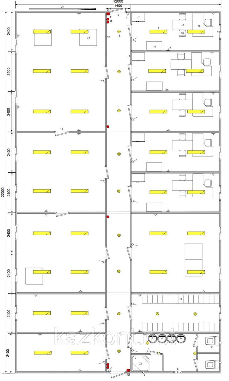 Вахтовый поселок (модульное здание из 9-ти контейнеров)