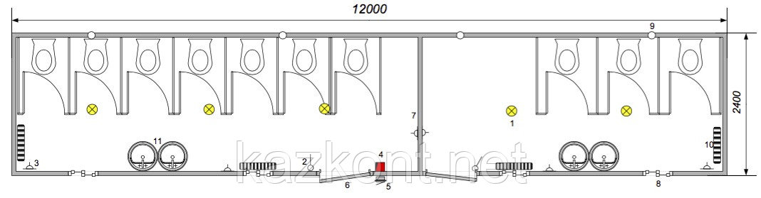 Санузел (модульное здание) из контейнера 40ф