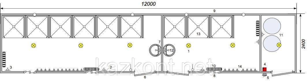 Душевая (модульное здание) из контейнера 40ф