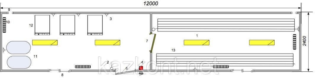Прачечная (модульное здание) из контейнера 40ф