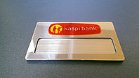 Бейдж на серебре со сменной информацией на металле цветной с магнитным креплением, фото 1