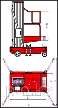 Мачтовый подъемник самоходный одноместный LM-WPAP-1-075 Lema, фото 2