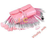 Кисти для макияжа набор 48 штук (розовые)