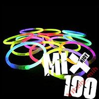 Светящиеся неоновые браслеты (палочки) 100 штук
