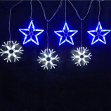 Светодиодная гирлянда бахрома Снежинки и звезды, 1,5м