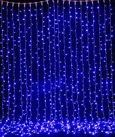 Световой занавес яркий (штора), синий 2х6 м