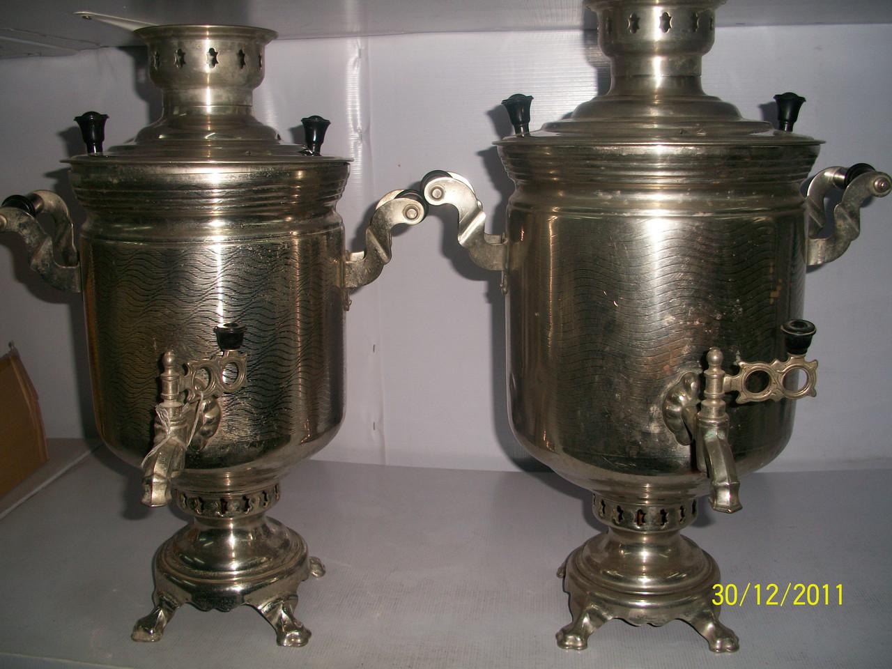 Самовары латунные, жаровые производство СССР 1978-1986 г.в., новые, объем 7 литров