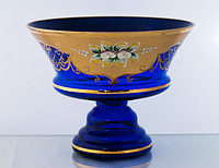 Фруктовница 20см синяя (JN Glass, Чехия)