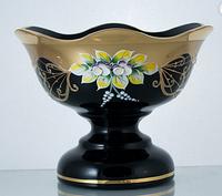 Фруктовница 26см черная (JN Glass, Чехия)