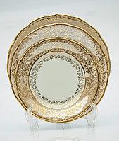 Набор тарелок 6 персон 18 предм Лист бежевый (Carsbad, Чехия)
