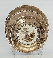 Набор тарелок 6 персон 18 предм Охота бежевая (Carsbad, Чехия)