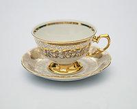 Набор чайных пар 6 персон 12 предм Лист бежевый (Carlsbad, Чехия)
