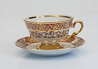 Набор чайных пар 6 персон 12 предм Лист бордовый (Carlsbad, Чехия)
