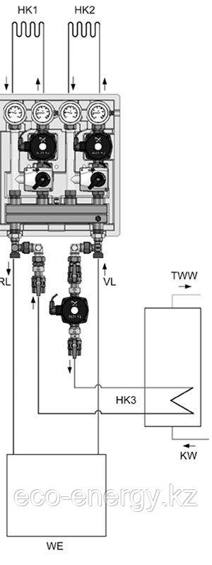 Дополнительный контур загрузки бойлера UK ГВС для Kombimix UPSO 15-50
