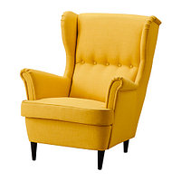 Кресло с подголовником СТРАНДМОН желтый ИКЕА, IKEA , фото 1
