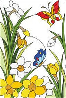 "Шаблон для витража ""Нарциссы и бабочки"