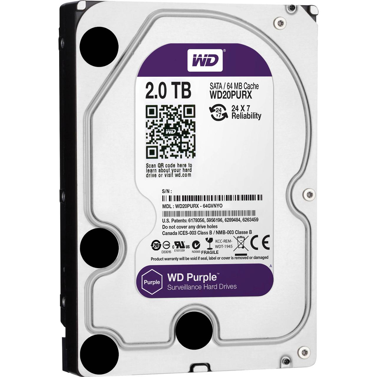 Жесткий диск для видеонаблюдения HDD 2 Tb Western Digital Purple WD20PURZ
