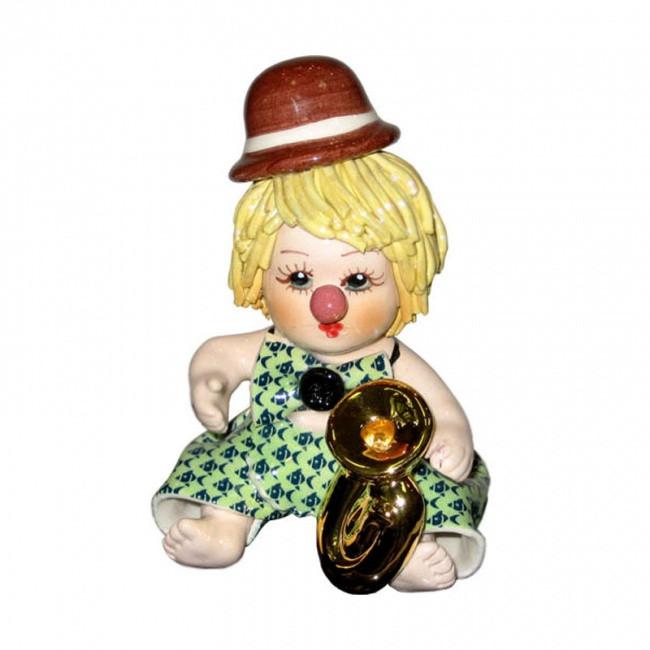 Статуэтка Клоун с трубой. Ручная работа из керамики,Италия