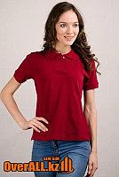 Бордовые футболки поло с коротким, женские.