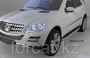 Пороги алюминиевые (Alyans) Mercedes ML W164 (2006-2011)