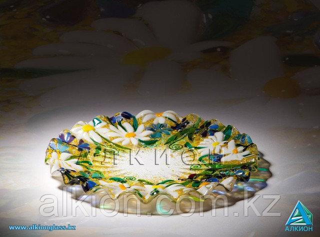 Стеклянная тарелка «Ромашки» (Сувенир)
