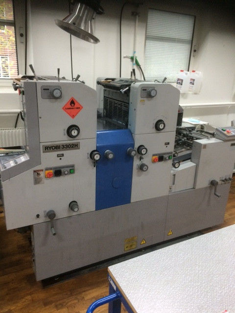 Ryobi 3302H - офсетная 2-х красочная печатная машина, бу -1998