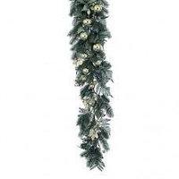 Декоративная еловая гирлянда зеленая с золотыми шарами 180 см в Алматы