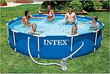Каркасный сборный бассейн Intex Metal Frame Pool. 366 х 76см. с фильтром, фото 2