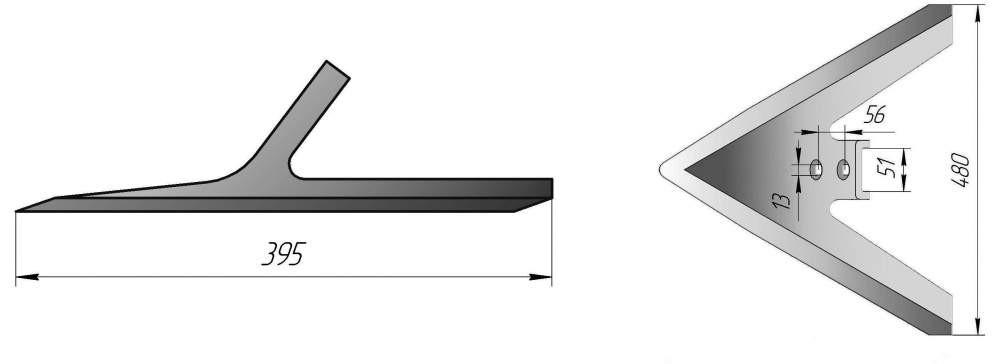Лапа культиватора 480 мм РЗЗ-АПК-7,2