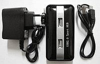 Расширитель USB, UH7P002, 7 Ports, USB 2.0 Hi-Speed, Точёные Аллюминивые Вставки, Блок Питания на 220v, Чёрн