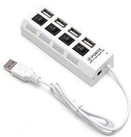 Расширитель USB, Deluxe, DUH4004WH, 4 Порта, USB 2.0 Hi-Speed, С кнопкой и индикатором вкл./выкл. для каждого , фото 1